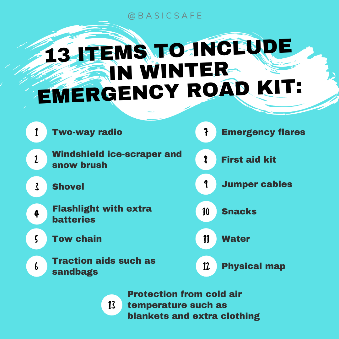 13 items to include in winter emergency road kit