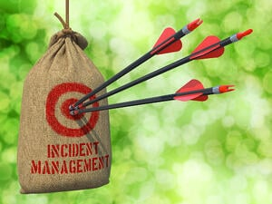 Incident Management- three arrows in a burlap bag with incident management as the target